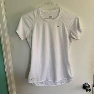 White Nike Dri-fit Short Sleeve Shirt